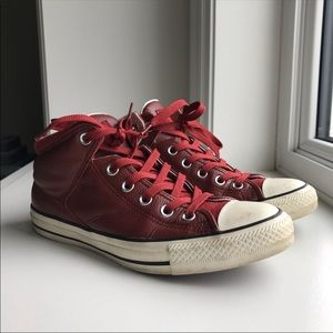 Converse Red Leather Chuck Taylor Unisex High Top